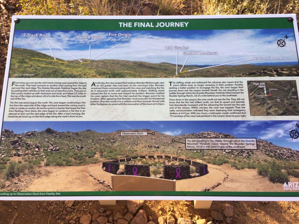 Sign at Granite Mountain Hotshots Memorial.