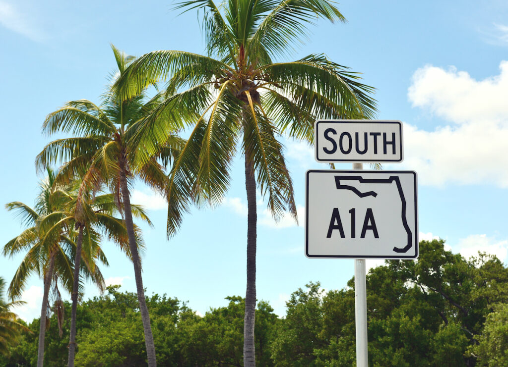 Sign for A1A in Key West.