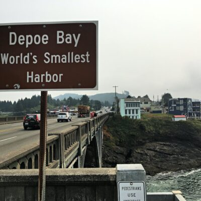 Sign for Depot Bay, Oregon.