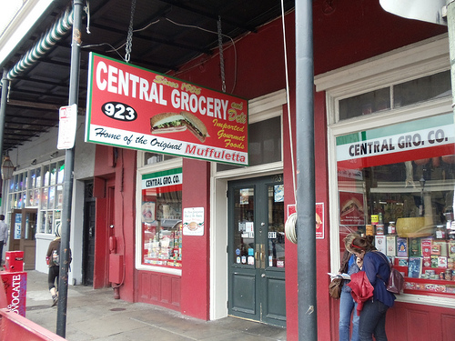 Sign outside Central Grocery, New Orleans.