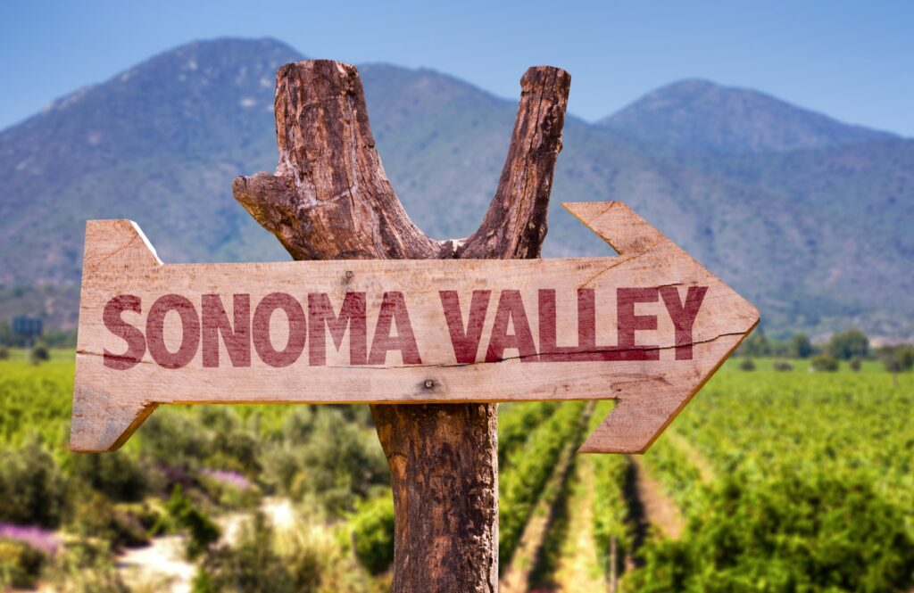 Sign pointing towards Sonoma Valley.