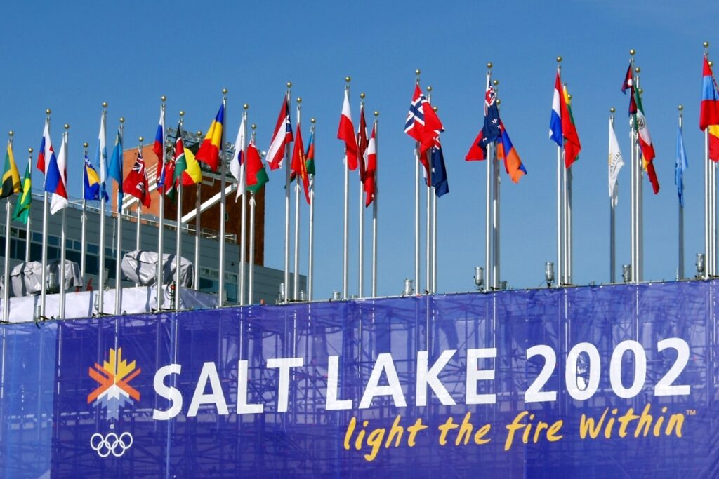 Signs and flags from the 2002 Winter Olympics in Salt Lake City.