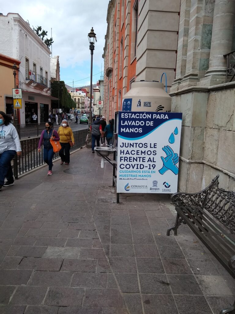 Signs encouraging hand washing in Mexico.