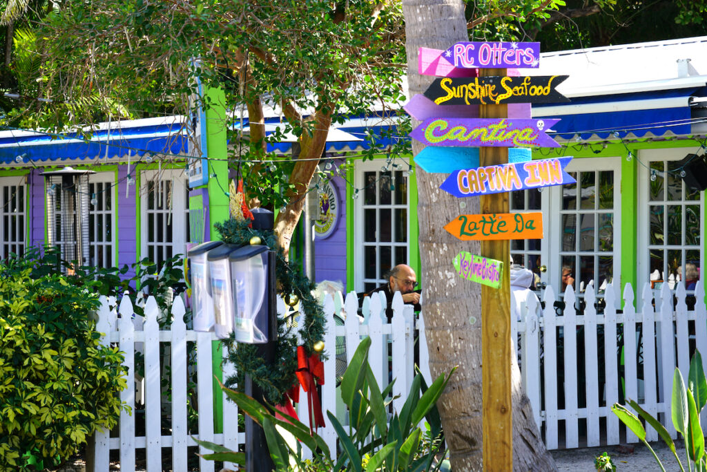Signs for restaurants, downtown Captiva Island.
