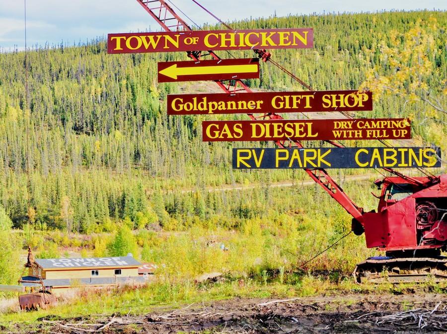 Signs in Chicken, Alaska.