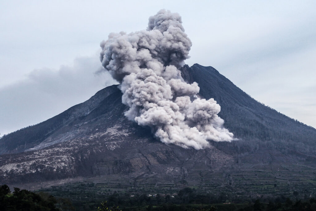 Sinabung Volcano in Indonesia.