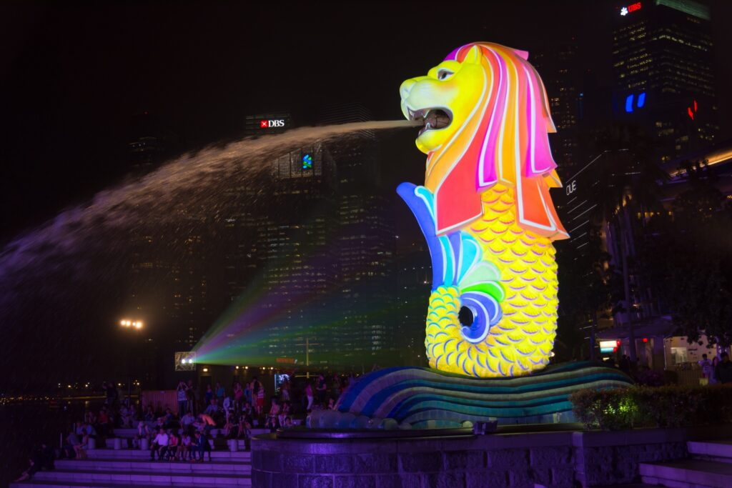 Singapore's Merlion at night.