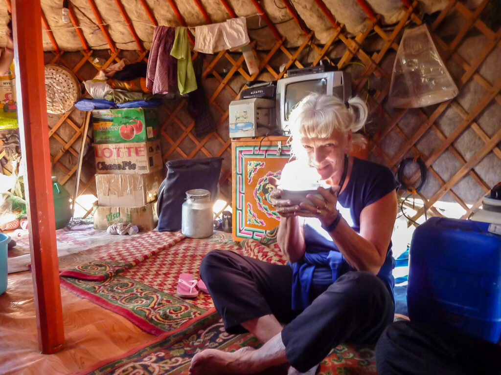 Sipping milk tea in my five-star accommodations in the Gobi Desert in Mongolia