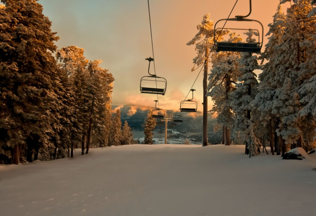 Ski slopes at sunrise in Big Bear, California.