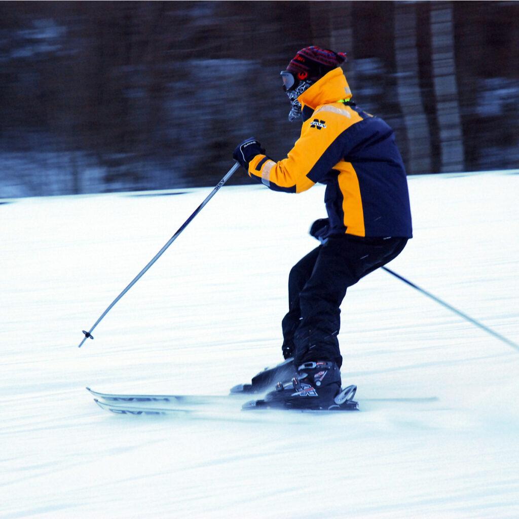 Skier at Okemo Mountain Resort in Ludlow, Vermont.