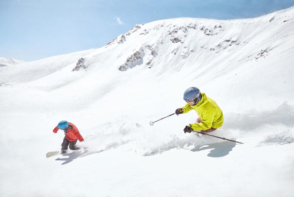 Skiers at Breckenridge Ski Resort in Colorado.