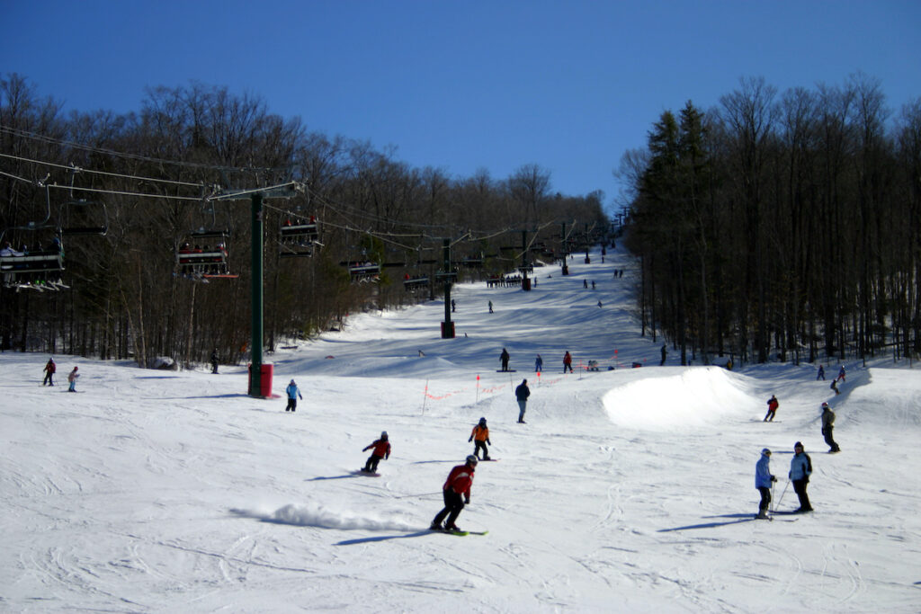 Skiers at Loon Mountain Resort in New Hampshire.