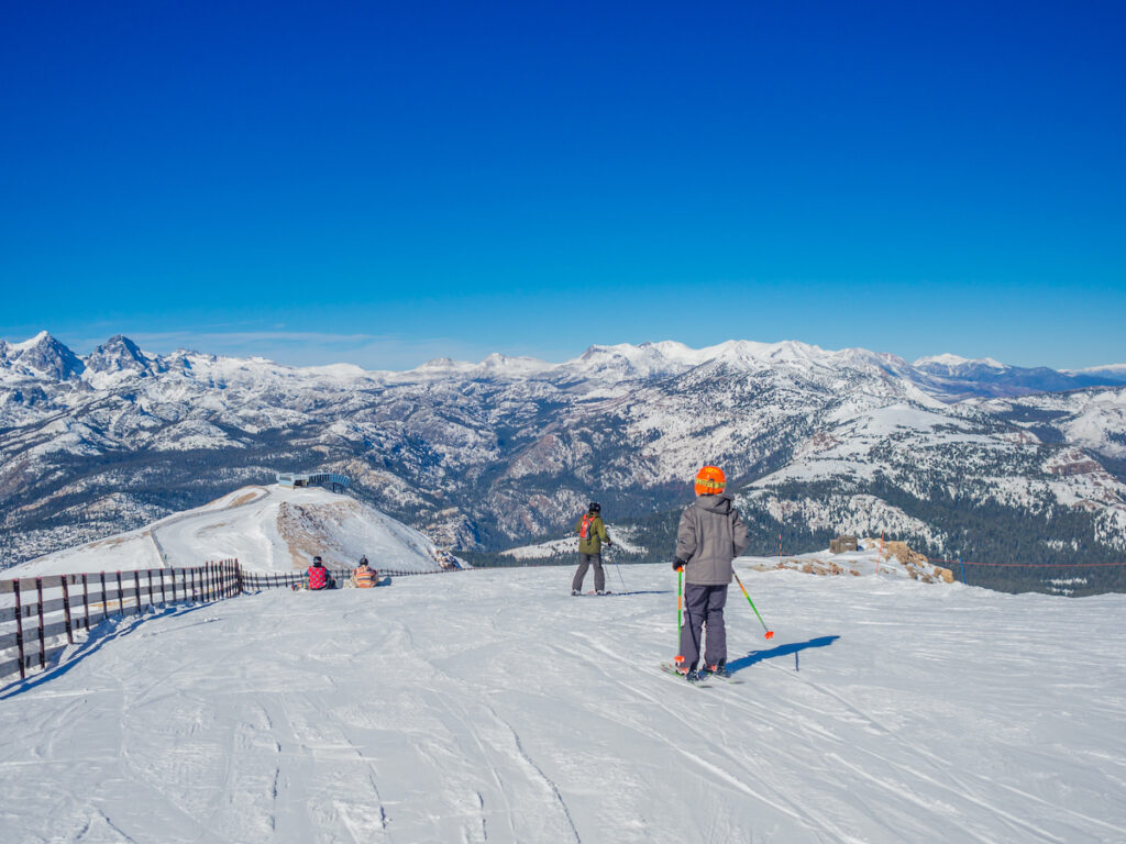 Skiers at Mammoth Lakes in California.