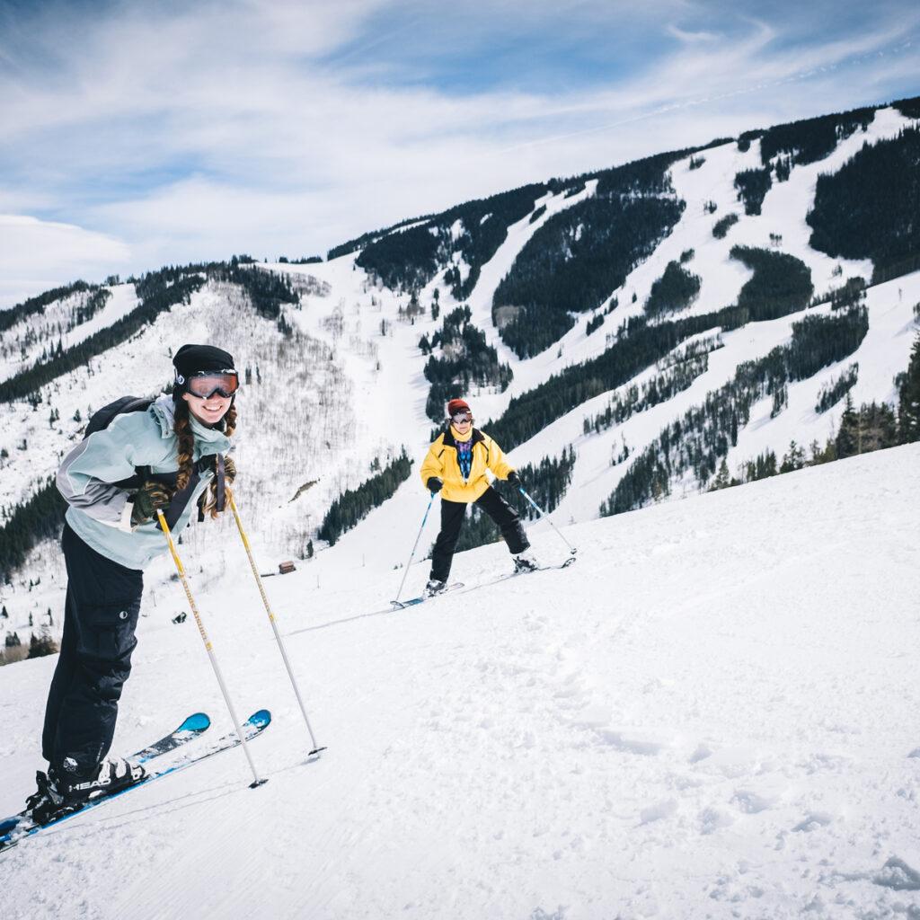 Skiers enjoying the slopes at Beaver Creek Resort in Colorado.