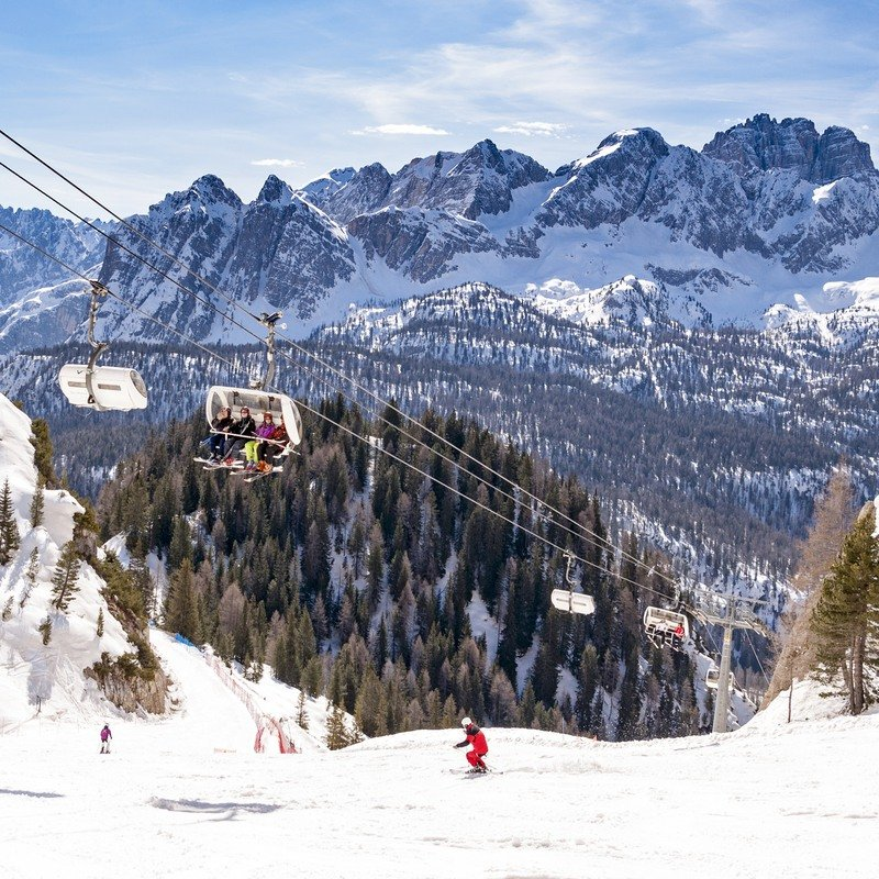 Skiers in Cortina d'Ampezzo, Italy.
