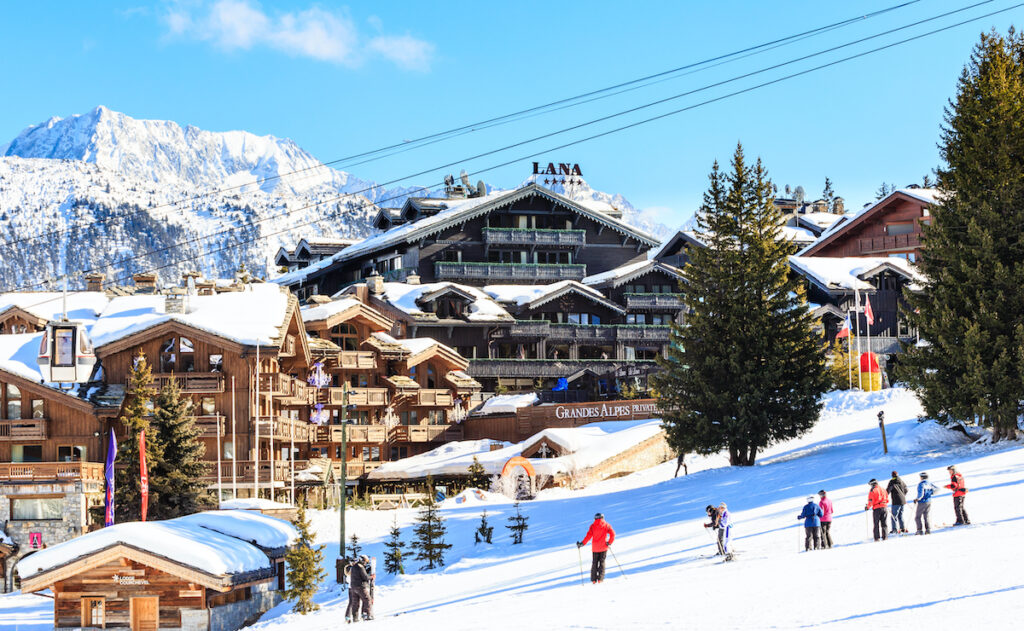 Skiers in Courchevel, France.
