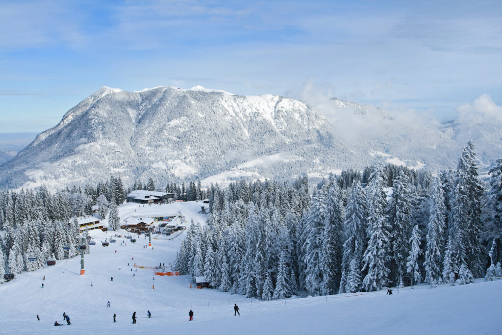Skiers in Garmisch Partenkirchen, Germany.