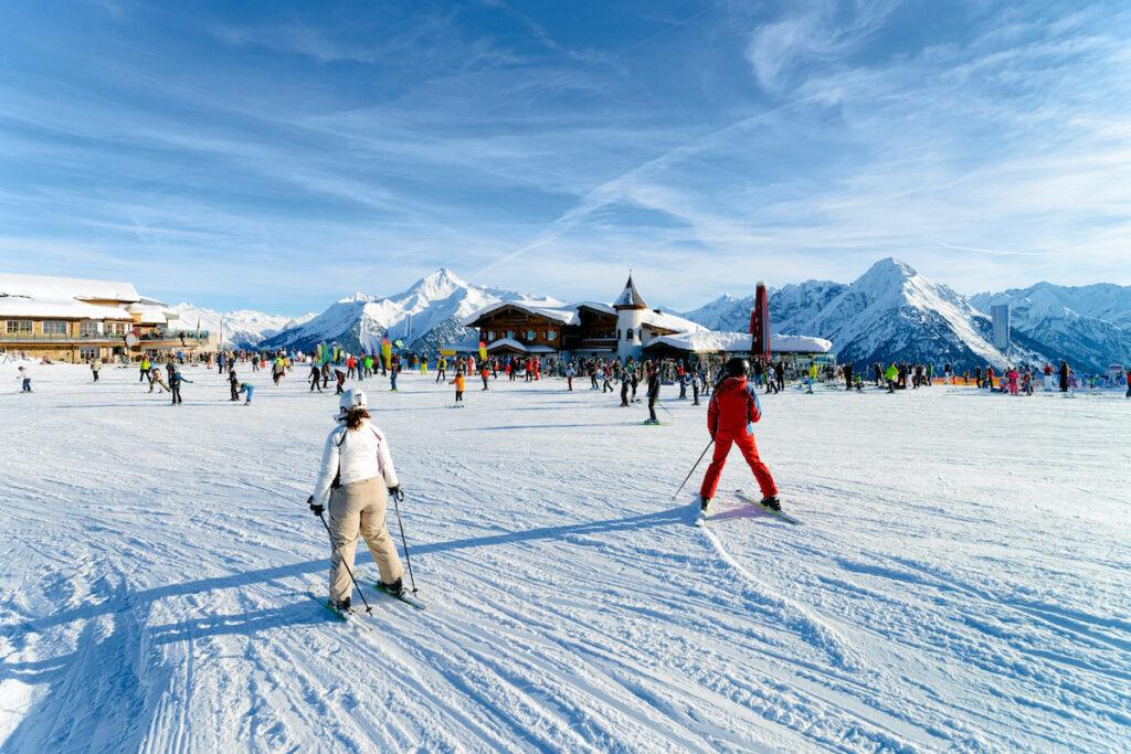 Skiers in Mayrhofen, Austria.