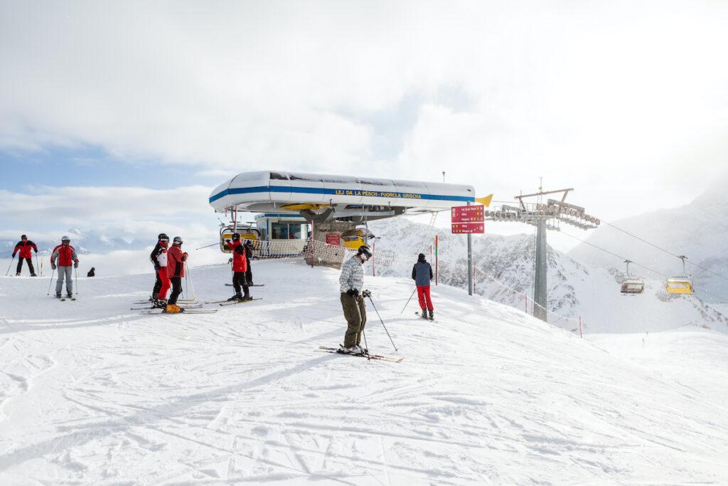Skiers in St. Moritz, Switzerland.