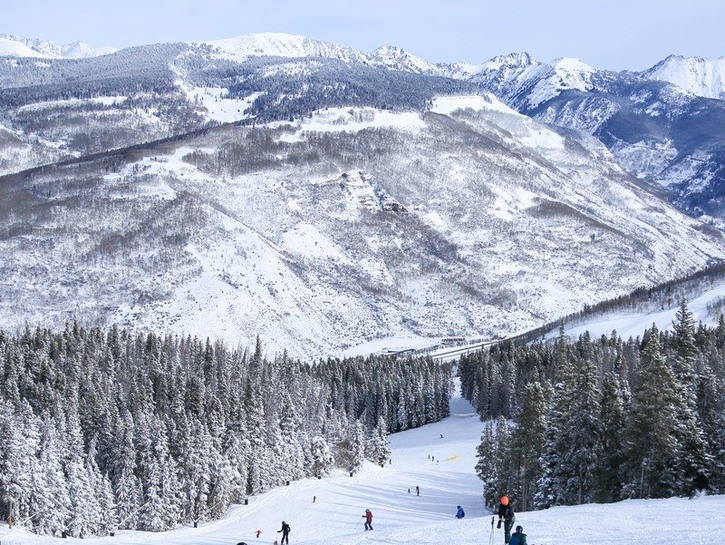 Skiers in Vail, Colorado.