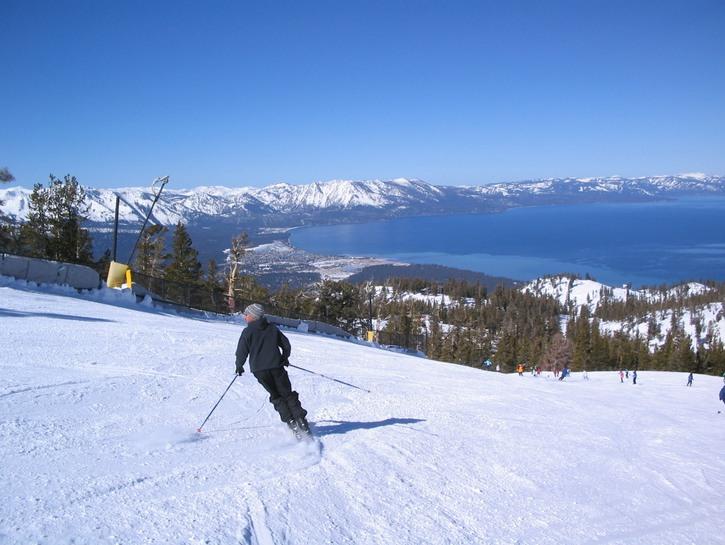 Skiing down slopes at Lake Tahoe