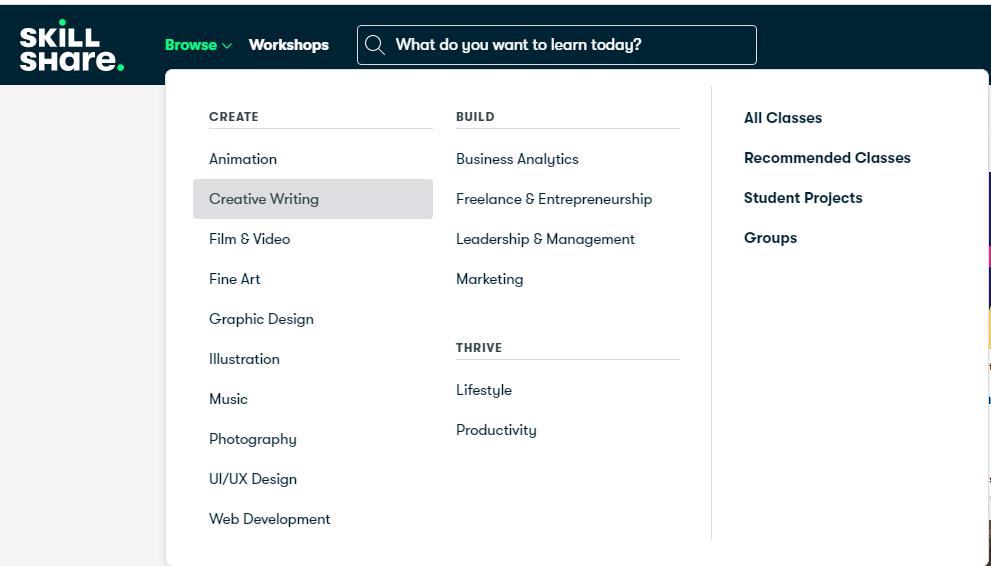 Skillshare categories.