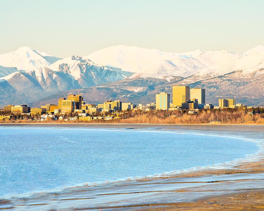 Skyline of Anchorage, Alaska.