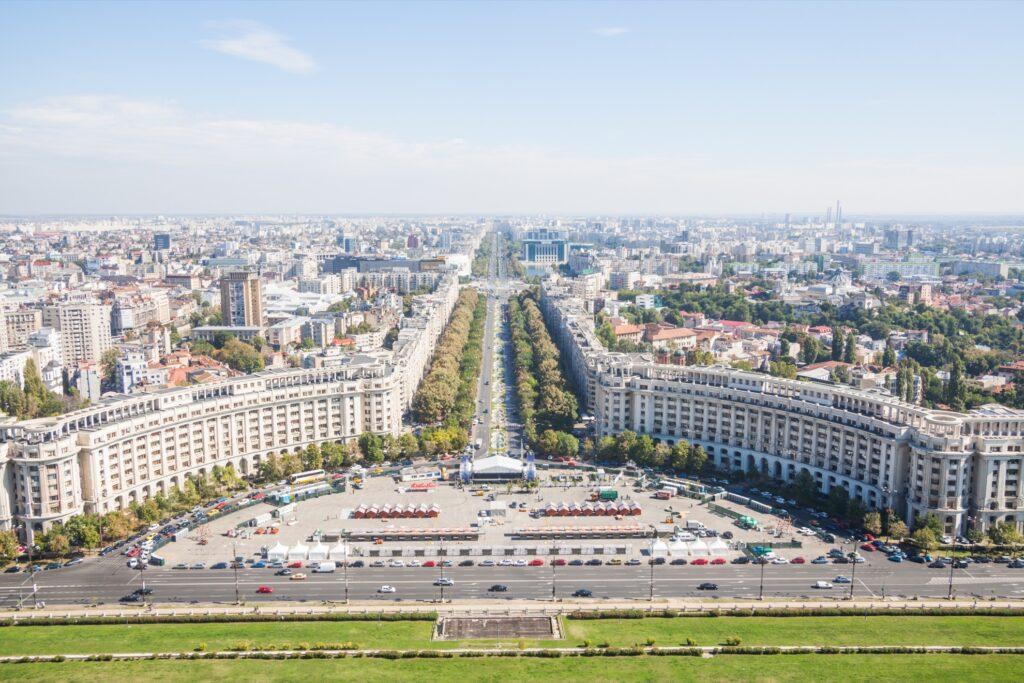 Skyline of Bucharest, Romania.