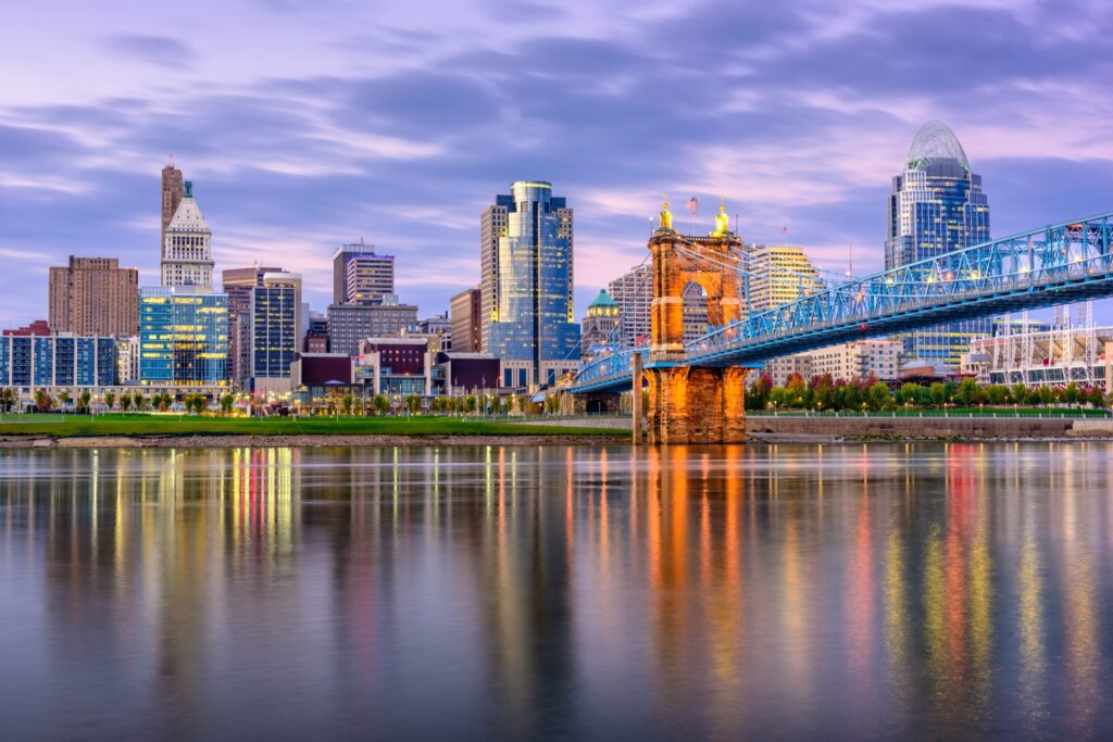 Skyline of Cincinnati, Ohio.