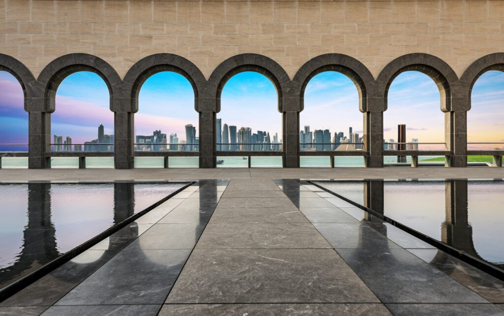 Skyline of Doha from the Museum of Islamic Art.