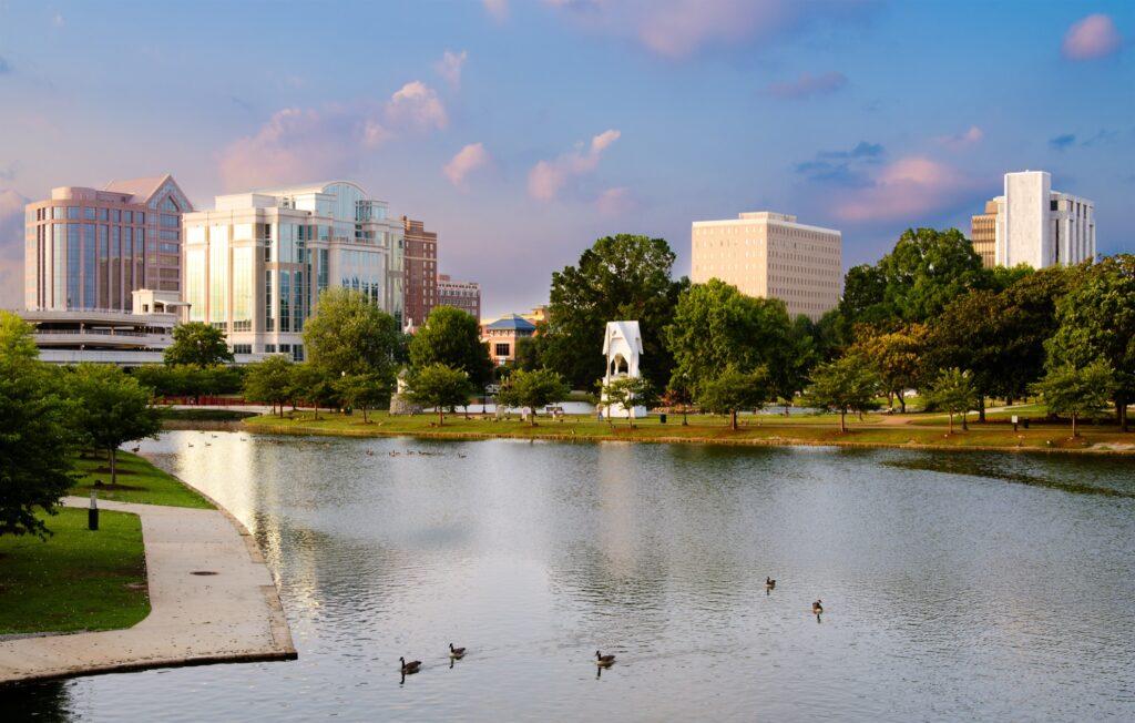 Skyline of Huntsville, Alabama.