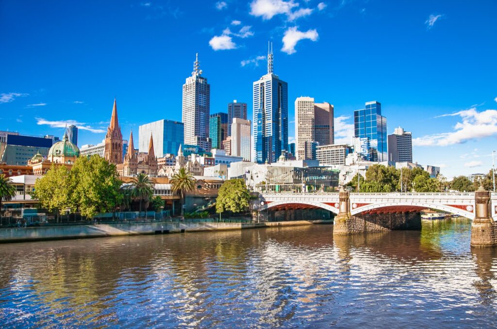 Skyline of Melbourne, Australia.