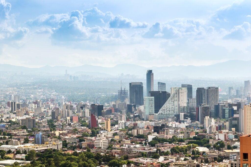 Skyline of Mexico City, Mexico.