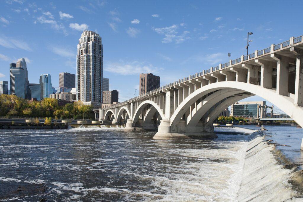Skyline of Minneapolis, Minnesota.