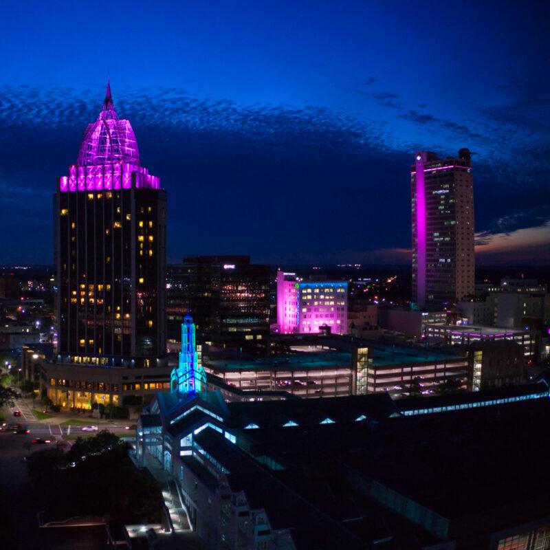 Skyline of Mobile, Alabama.