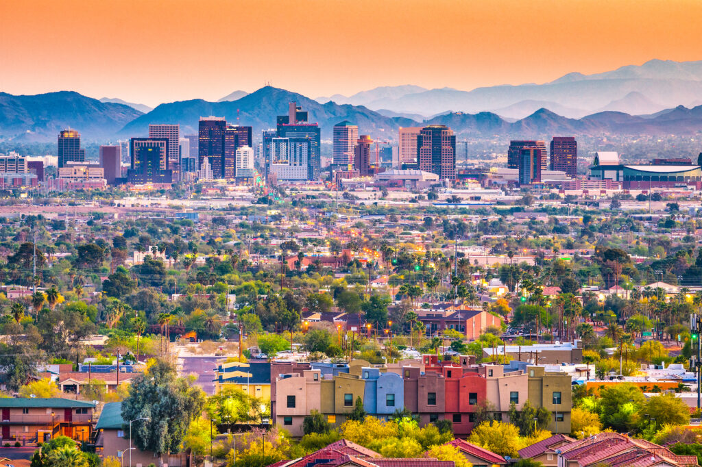 Skyline of Phoenix, Arizona.