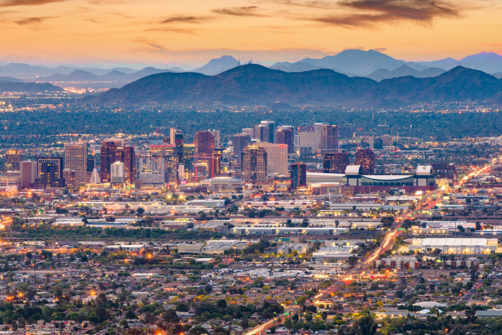 Skyline of Phoenix, Arizona.