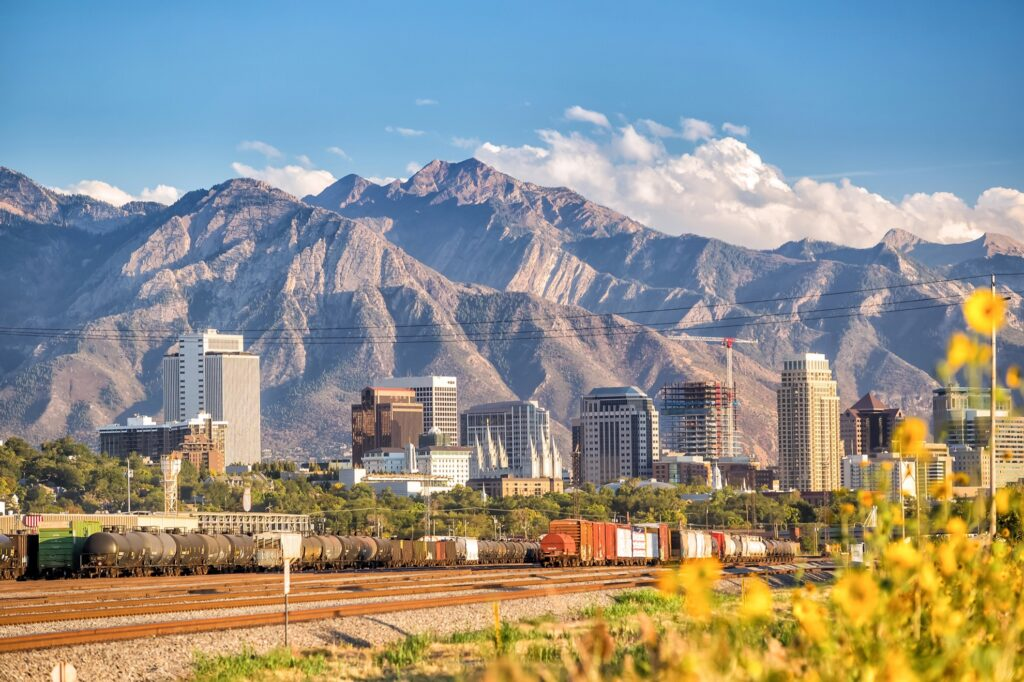 Skyline of Salt Lake City, Utah.