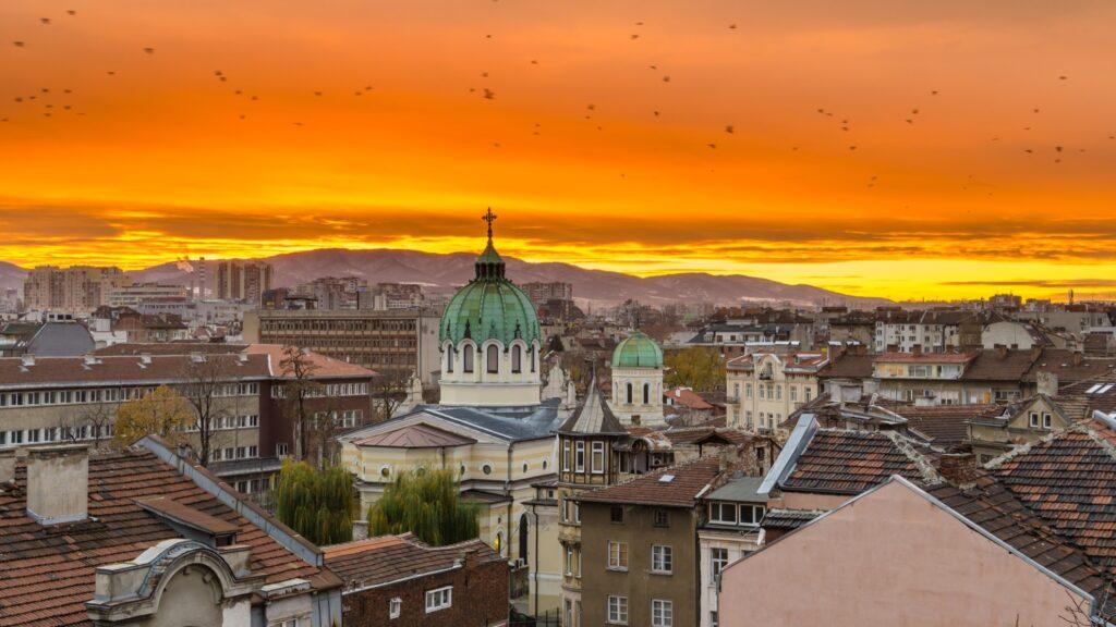 Skyline of Sofia, Bulgaria, at sunset.