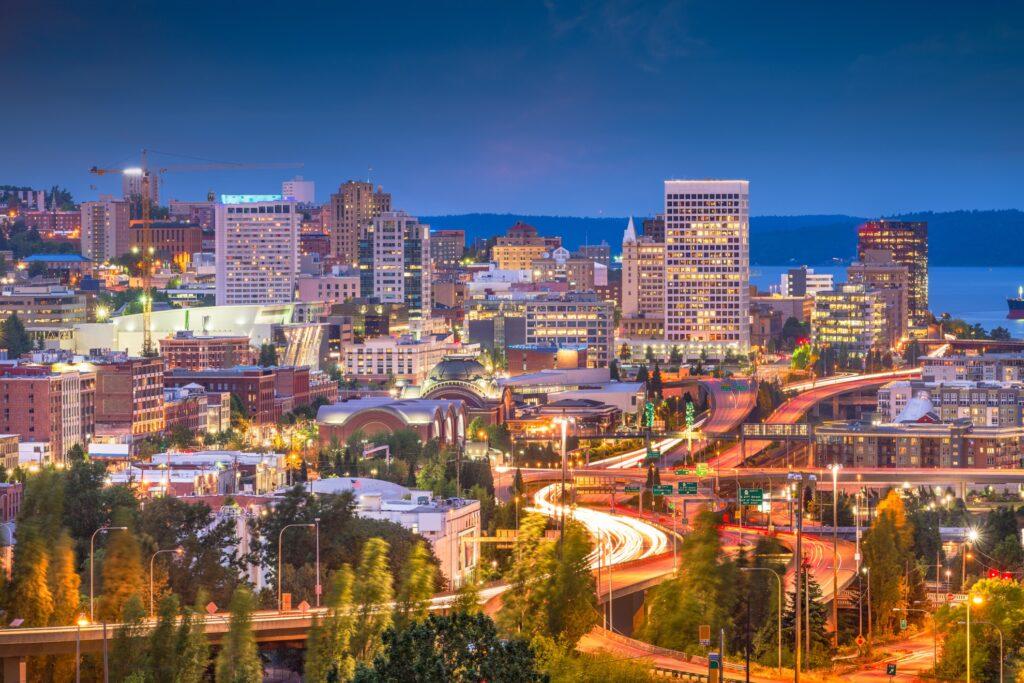 Skyline of Tacoma, Washington, at night.