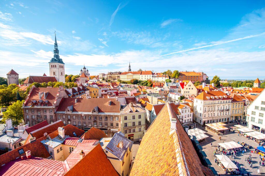 Skyline of Tallinn, Estonia.