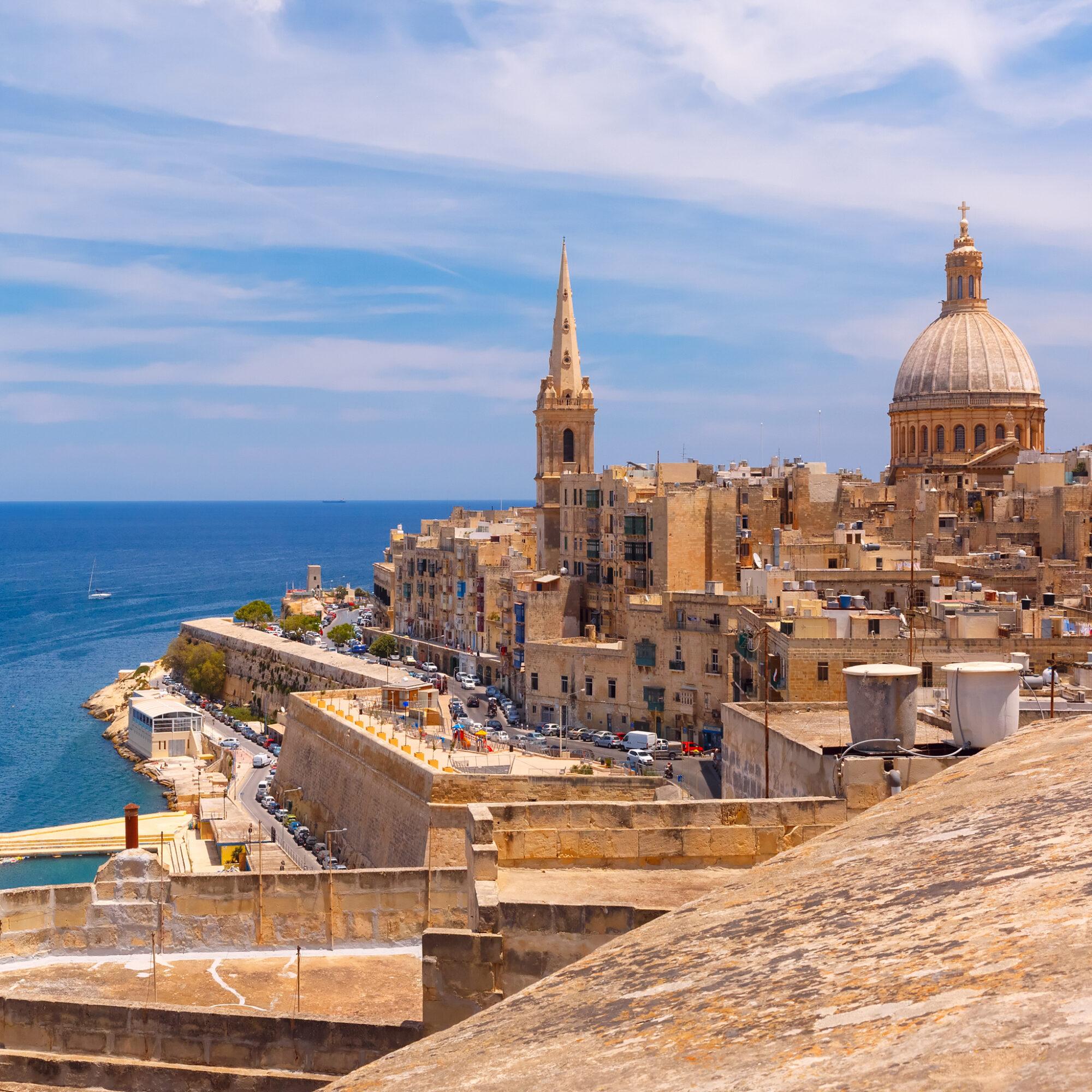 Skyline of Valletta the capital city of Malta.