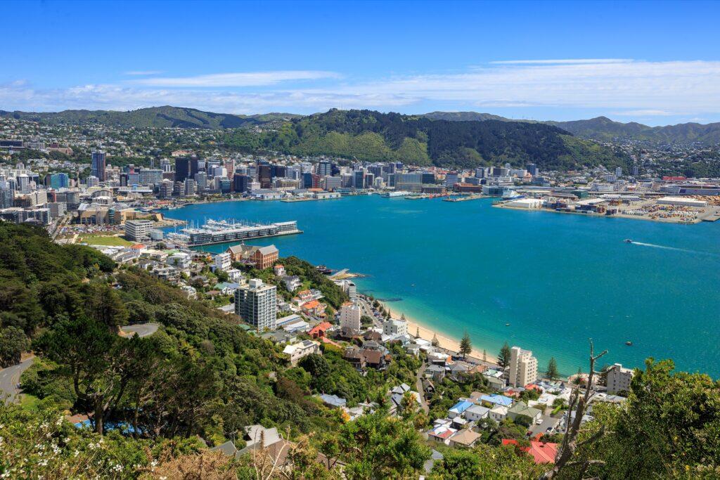 Skyline of Wellington, the capital of New Zealand.