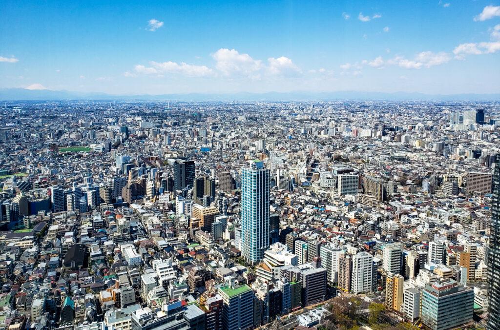 Skyline view of Tokyo from the Metropolitan buildings.