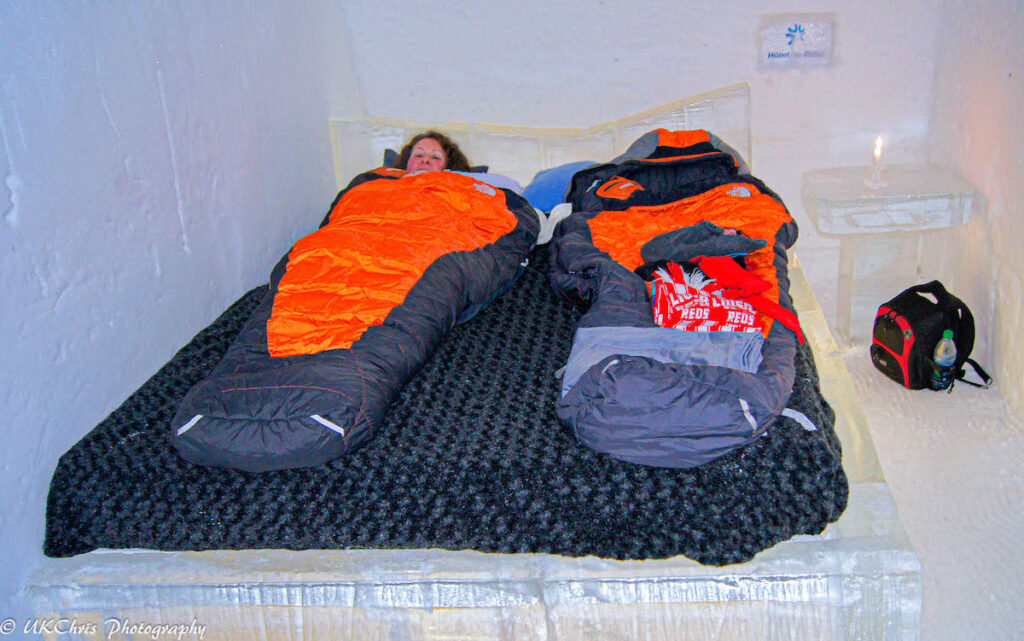 Sleeping bags in a room at the Hotel de Glace.