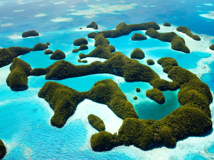 Small, leafy islands and shallow shoals of Palau, seen from above