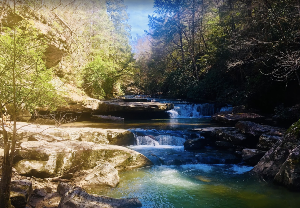 Small waterfalls along the Bark Camp Trail in Daniel Boone National Forest.
