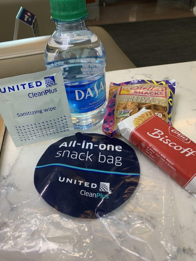 Snacks in complimentary snack bag.
