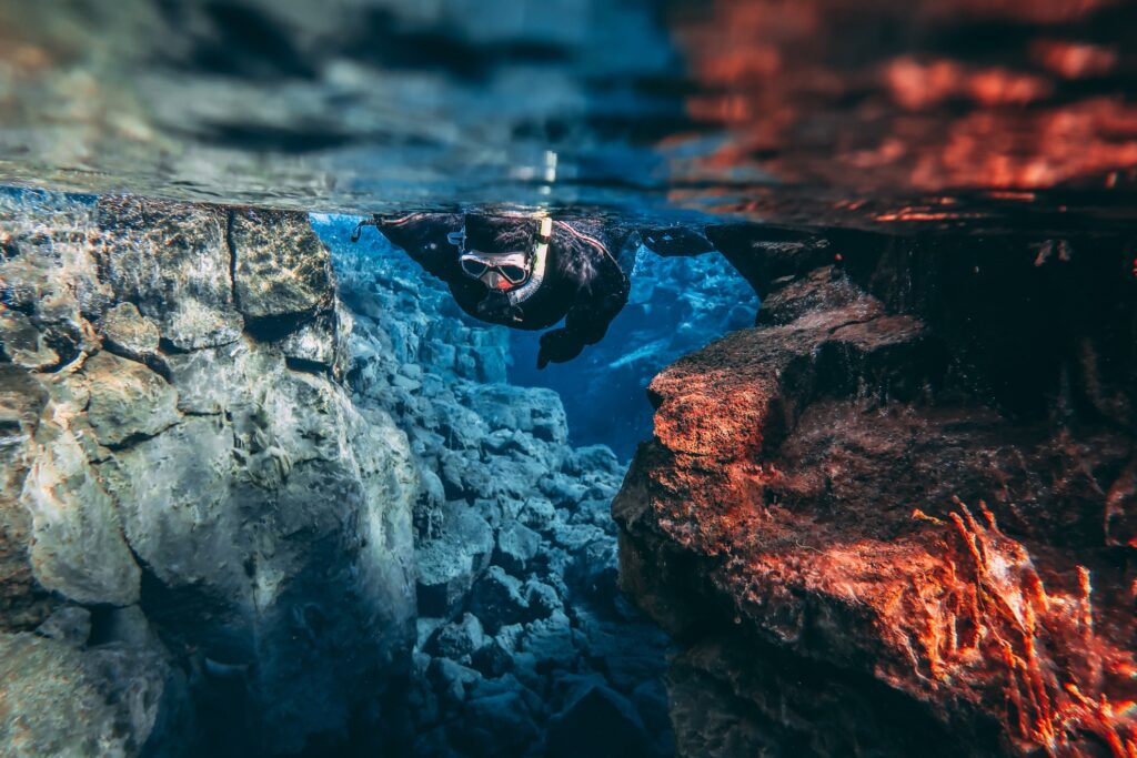 Snorkeling in Thingvellir National Park.