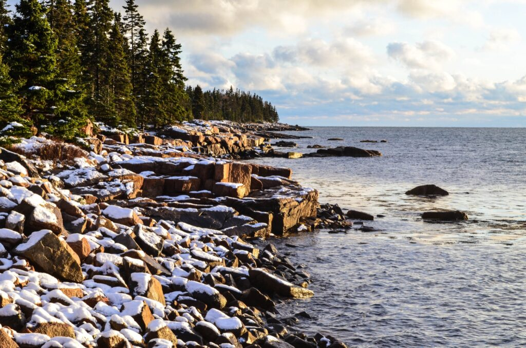Snow along the coast of Maine.